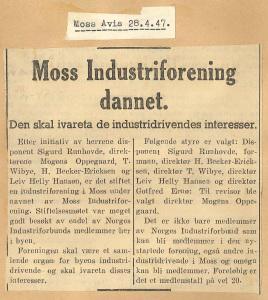 Det første medieklippet om Moss Industriforening er fortsatt bevart i MINs arkiver. Faksimile: Moss Avis, 28. mars 1947.
